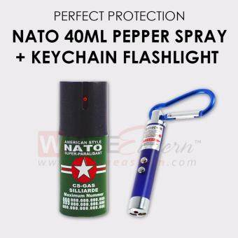 Harga Nato Pepper Spray 10ft Self Defense(40ml) + 3-in-1 FunctionsKeychain Flashlight