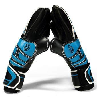 Size 7 8 9 10 Professional Goalkeeper Gloves With Finger ProtectionThickened Latex Soccer Goalie Gloves Football Goal Keeper Gloves(Black Blue)