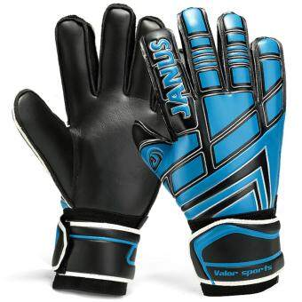 Size 7 8 9 10 Professional Goalkeeper Gloves With Finger ProtectionThickened Latex Soccer Goalie Gloves Football Goal Keeper Gloves(Black Blue)