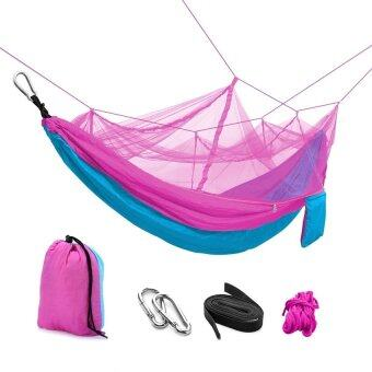 SOKANO Foldable Outdoor Hammock Hanging Bed with Mosquito Net- Pink