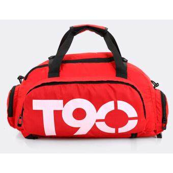 T90 Gym Bag 3 ways Gym Bag Gym Backpack Extra Large Gym Bag withDetachable & Adjustable Strap (Red)