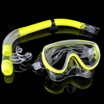 Toprank Silicone Snorkeling Scuba Diving Mask DRY Snorkel Fins Set(Yellow)