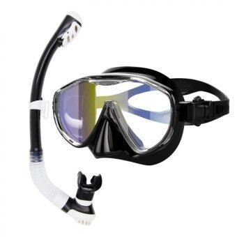 Whale Best-selling High-quality Silicone Scuba Snorkeling SwimmingGlasses Diving Mask+Breathing Tube Snorkel Set (Black)