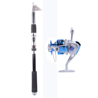 Whale Portable Carbon Fishing Rod Fishing Pole 2.4M+Rocker ReelFishing Spool Vessel Fish Reel Rod Sea Spinning Wheel Line GearFB3000 (Blue)
