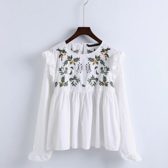 Harga 001 spring and summer New style lotus leaf edge flowers embroidered shirt