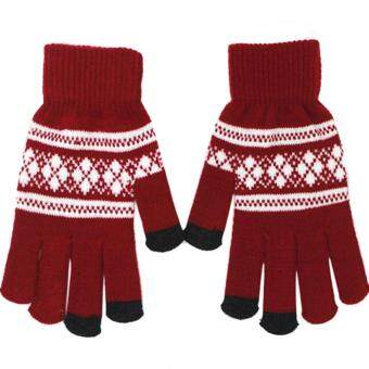Harga 1 Pair of Unisex Touch Screen Sensitive Gloves Knitted Winter WarmChristmas Glove Red