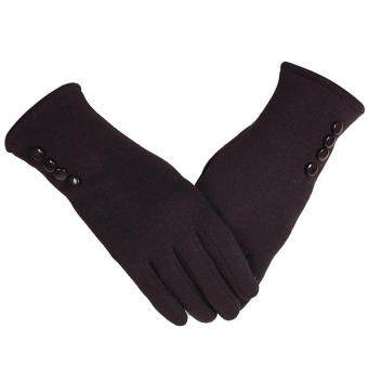 Harga 1 Pair of Women Touch Screen Sensitive Gloves Cashmere Solid ColorWinter Warm Glove Brown