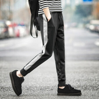 12 big kid men's thin spring casual pants athletic pants (Stitching black)