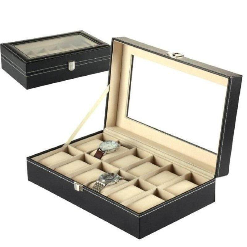12 Slots Elegant Premium PU Leather Watch Display Box For Collection Malaysia