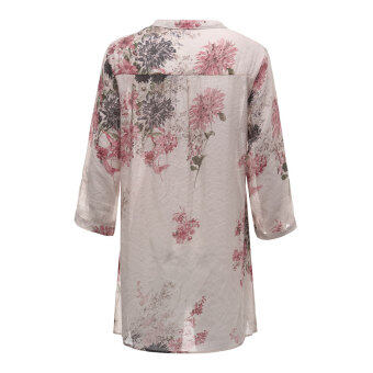 2016 Blusas Femininas Women Fashion V Neck Button Linen Shirts Plus Size Blouses Casual Vintage Floral Printed Long Tops Red - 3