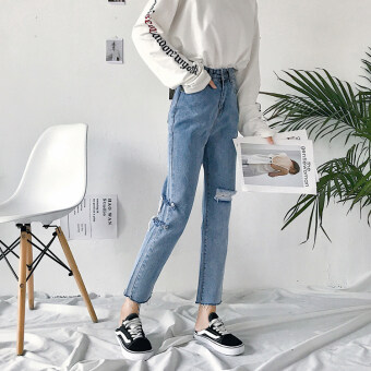 ... ankle-length pants jeans (Biru tua burr. Source · 2017 autumn Women's New style Korean-style retro Cool not rules hole pantyhose pants denim