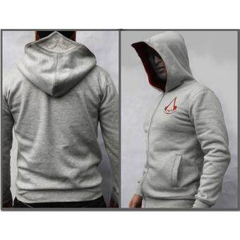 Harga 2017 Men's Spring New Fashion Autumn Winter Assassins Creed HoodieSweat Cosplay Costumes Cool Zipper Hoodies S(gray)
