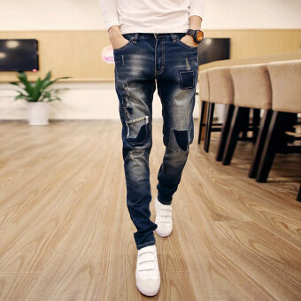Harga 2017 New Fashion Spring Autumn Hole Jeans Men Casual Slim KoreanStyle Youths Mens Jeans Pants