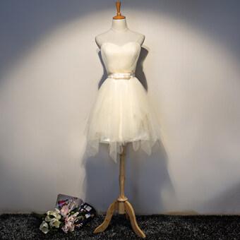 2017 new korean version of slim thin short paragraph bridesmaid dress champagne color bridesmaid dress sisters dress female (Champagne color d paragraph)