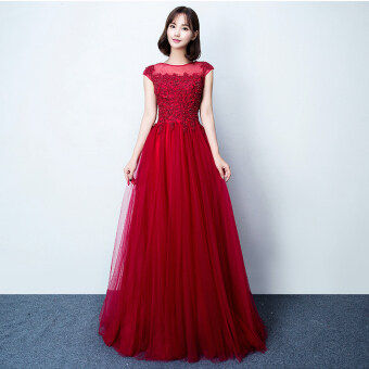 2017 spring and summer new word shoulder bride toast clothing wedding banquet evening dress long section of female presenters engaged (Red wine)