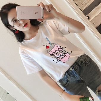 2017 spring New style Korean-style loose Slimming effect ice cream letter Print wild round neck short-sleeved t-shirt female B6 (7022 chips)