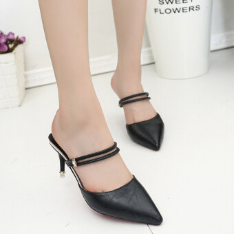 2017 summer New style Baotou Butterfly knot thin High-heeled pointed shoes sandals shoes two wear fashion sexy half slippers shoes (Black two wear 662)