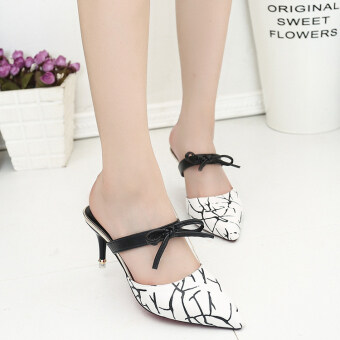 2017 summer New style Baotou Butterfly knot thin High-heeled pointed shoes sandals shoes two wear fashion sexy half slippers shoes (White)
