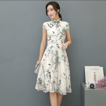 Harga 2017 summer New style Women's Slim fit Slimming effect trim Print dress retro art Slim fit Chinese dress tide