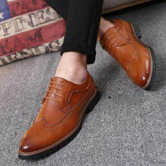 2017 Vintage Leather Men Dress Shoes Business Formal Brogue PointedToe Carved Oxfords Wedding Shoes - 3