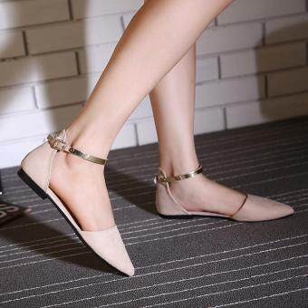 2017 Women's Pointed Toe Ankle Strap Shoes Ballet Flats SpringCasual Sandals BEIGE - 3