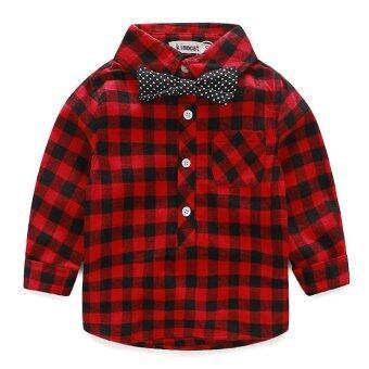 2Pcs Denim Suspender Pants + T-shirt Red - 3