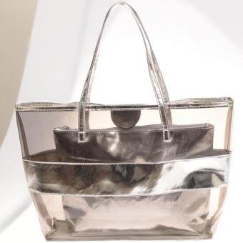 360WISH High Quality Lady HandBag Transparent PVC PU Beach Bag with Inner Bag - Silver