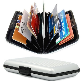 Harga 6 Layers Inside Aluminium Alloy Shell Waterproof Credit Card IDCard Coin Pocket Storage Case Box Holder Silver