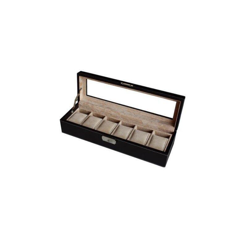 6 Slots PU Leather Watch Box with Key Lock (Dark Brown) Malaysia