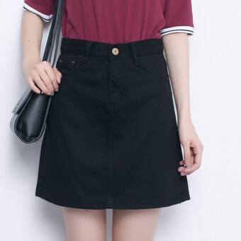 Harga A word waist type A Slimming effect tide Korean-style denim skirts(Black)