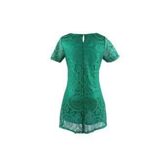 Acecharming Women Hollow Lace Crochet Short Sleeve Floral Party Mini Swing Dress Shirt Tops (Green) - Intl - 5