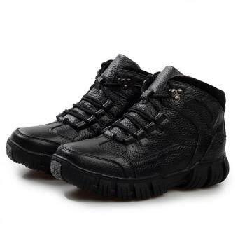 AD NK FASHION Men's Fashion Leather Safety Shoes Winter Boots(Black)AK186