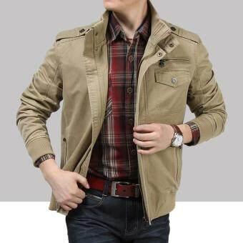 Harga AFS JEEP Battlefield Men Jean Jacket Mens Mandarin Collar CottonJacket Coat 223 -Khaki