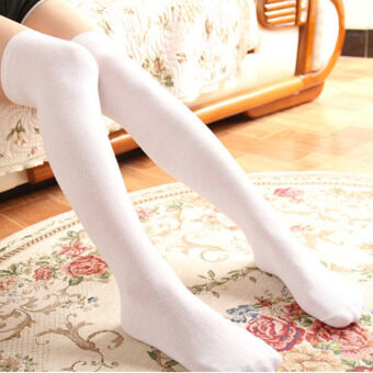 Harga Amart 1 Pair Women Cotton Stockings Sexy Thigh High Knee Long SocksWhite