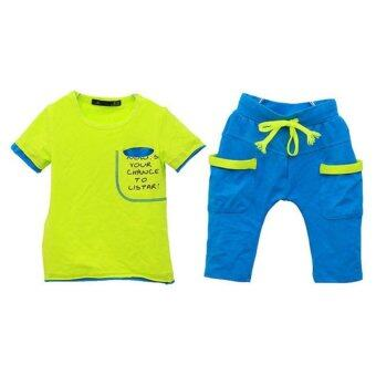 Harga Amart Boys Summer Sports Outfit Suits Short Sleeve T-Shirt + Pant -