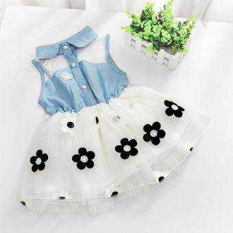 Harga Amart Cute Denim Top Sun Flower Princess Tutu Dresses Baby GirlsToddler Clothes