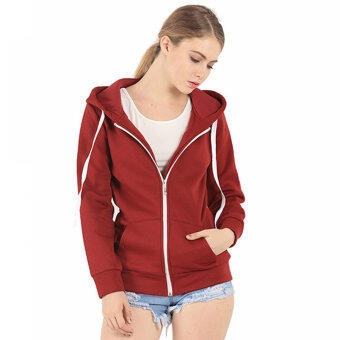 Harga Amart Fashion Unisex Solid Zip Up Hooded Zipper Fleece Hoodies Sweatshirt Coat Tops