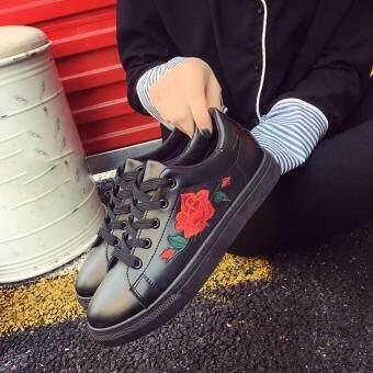 Amart Fashion Women Flat Shoes Spring Rose Embroidery Platform Casual Shoes(Black)