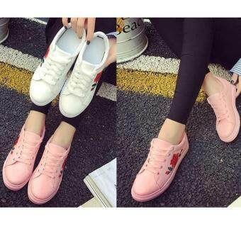 Amart Fashion Women Flat Shoes Spring Rose Embroidery Platform Casual Shoes(Pink)