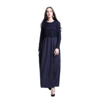 Harga Amart Muslim Women Long Sleeve Maxi Dress Clothing Robe MoroccanLace Dresses(Blue)