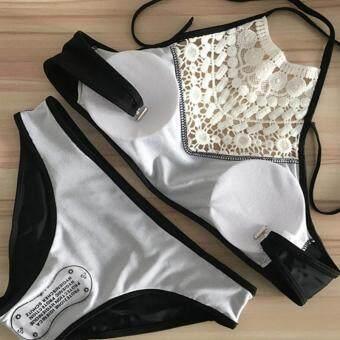 Amart Women Lace Cropped High Neck Tank Bathing Beach Wear SwimSuit Swimwear Bikini Set - 3