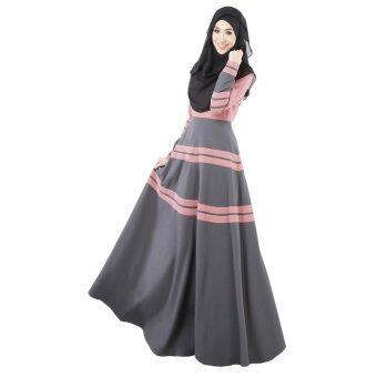 Aooluo Muslim women's Long-sleeved Dress Skirt hui Clothing Accessories Dress (Pink)