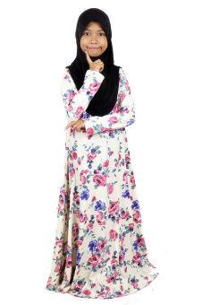 Aqeela Muslimah Wear Kids Basic Dress Vintage Garden Beige