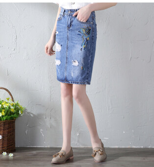 Harga Art embroidery flower denim skirt