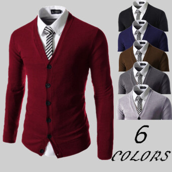 Harga Autumn Fashion casual mens sweaters slim cardigan knitted men(Burgundy wine red)