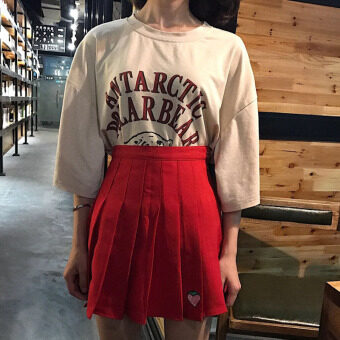 Harga Autumn Women's Korean version of College Wind strawberry embroideryhigh waist pleated girls a word Skirt wild skirts (Red)