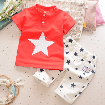 Harga Baby and young children's short-sleeved baby summer (Red)