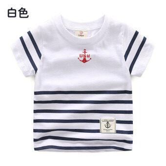 Baby tx-8389 round neck short-sleeved children's clothing summer T-shirt (White) (White)