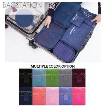 Harga Bagstationz Set Of 6 Pieces Travel Clothes Bag And Items Pouch(Navy Blue)
