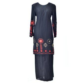 Baju Kurung Moden - Cotton Embroidery - 1186 - F9 (Black)